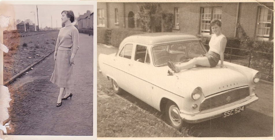 Nostalgic photo of Eileen & Ford Consul. Music by composer Jennifer Clark