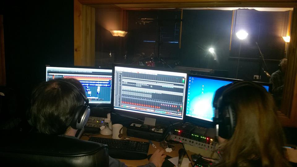 Eddie MacArthur and Record Producer Jennifer Clark at Stealth Recording Studio, Glasgow