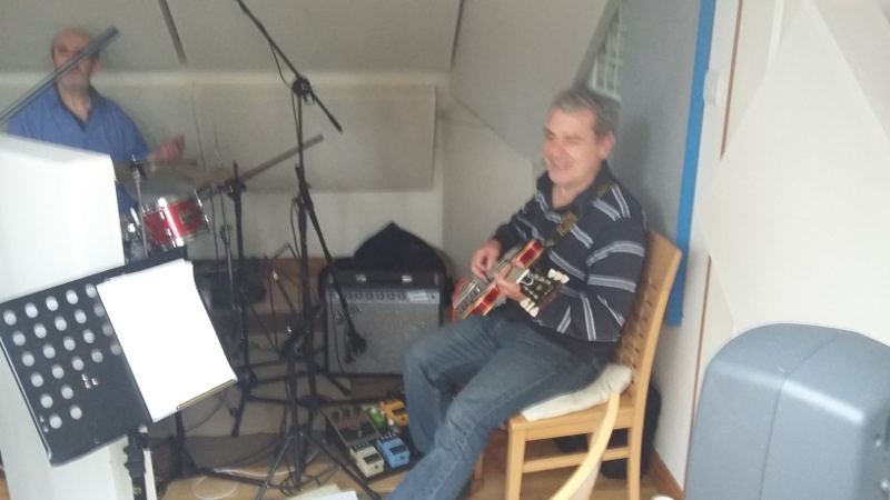 Studio view from bass player's position, Gordon Paton (sax), Gary Kemp (composer), Charlie (drums)