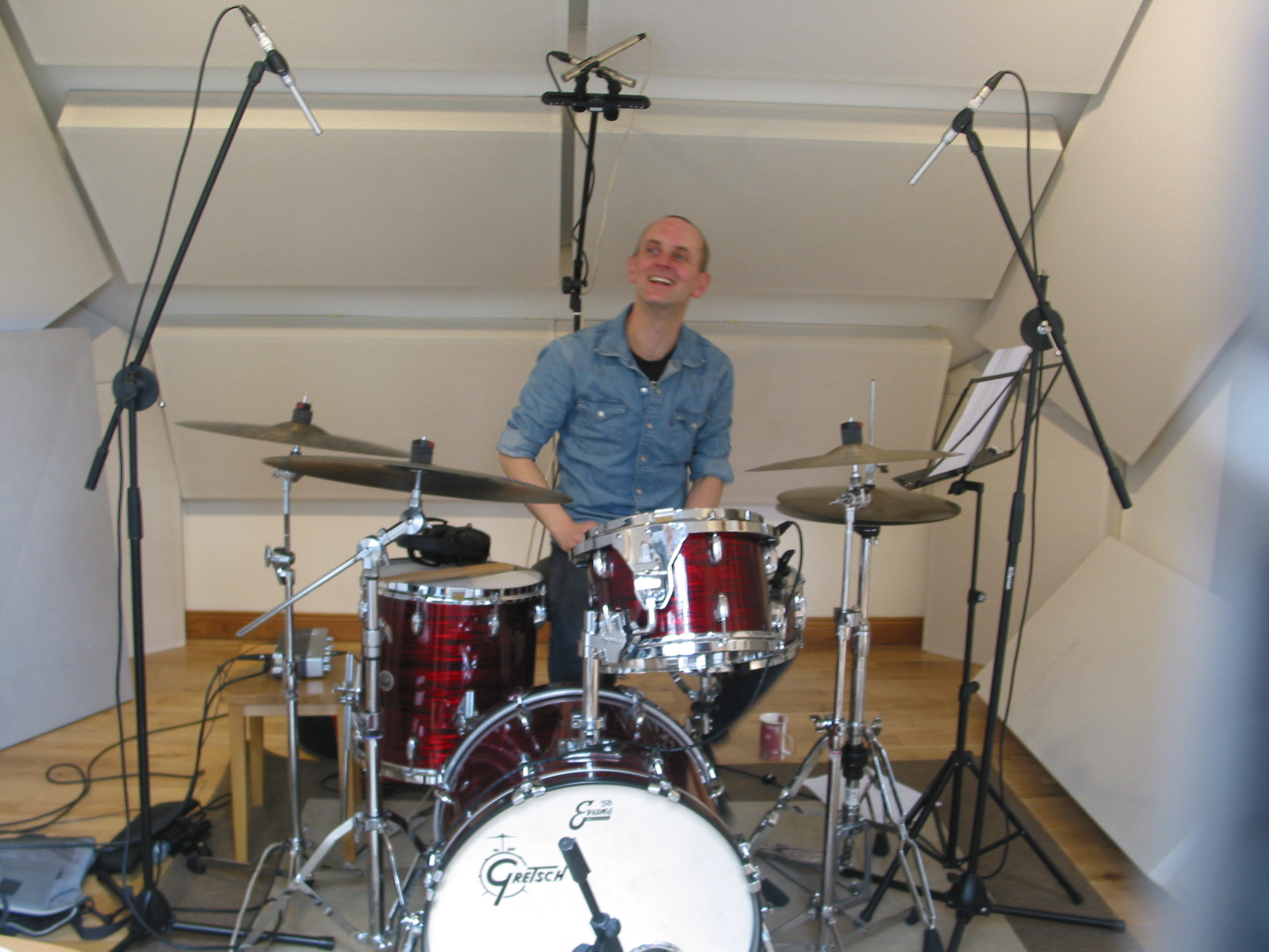 Recording Stu Brown (drums)