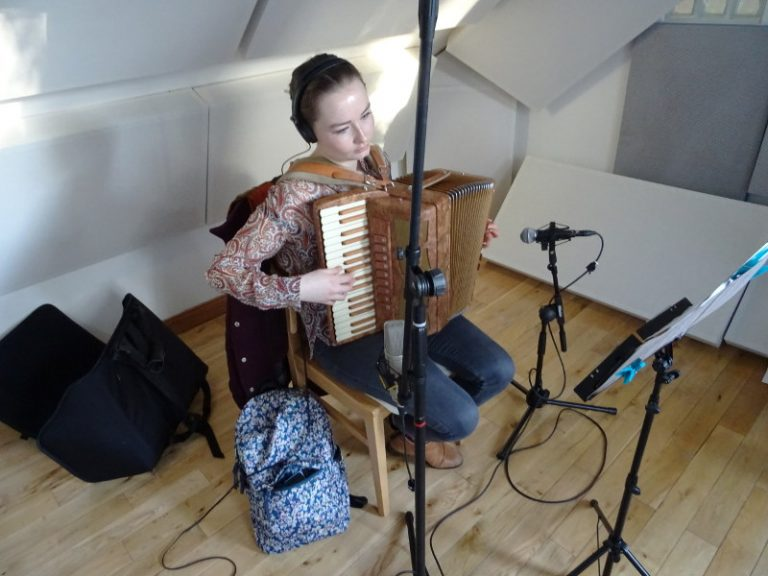 Aileen Sweeney - recording accordion at Jennifer Clark's studio