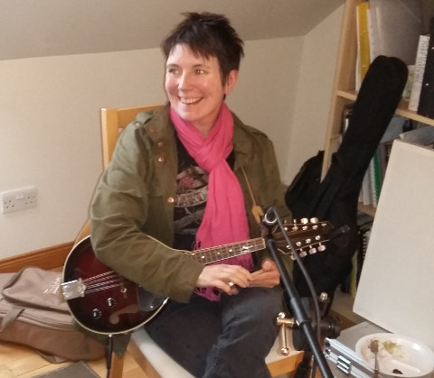 Suzy Cargill - recording mandolin at Jennifer Clark's studio